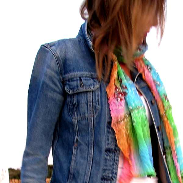 white skirt blue jeans jacket Sea scarf