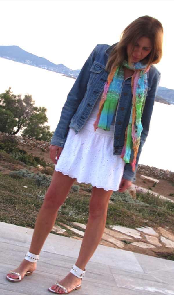 white skirt blue jeans jacket Sea scarf