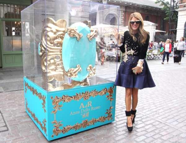 Anna Dello Russo with giant H and M bracelet in Covent Garden, London,Photographer: David M Benett