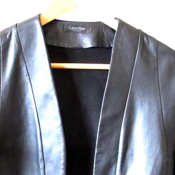 Calvin Klein black leather  jacket