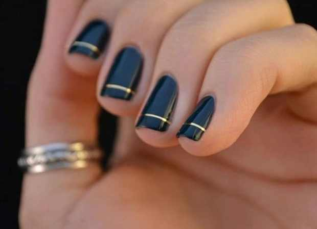 cool gold and black nails
