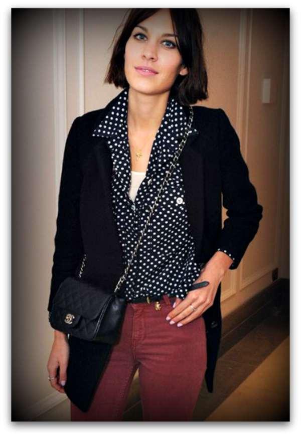 Alexa Chung polka dots shirt