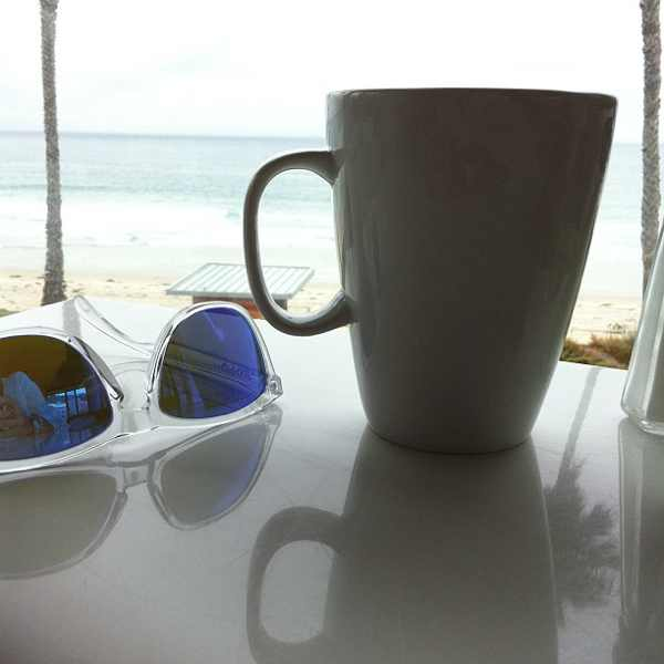 Caroline's seafront cafe, Coffee and Frogskins Oakley sunglasses