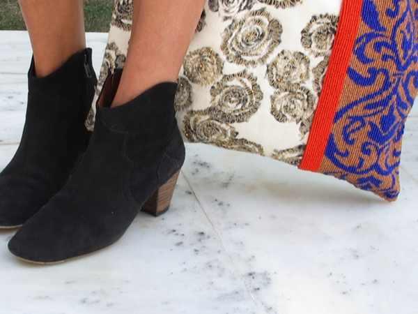 sabel Marant dicker boots Anthropologie bag, Boots, Short Jeans and Blue Stripes