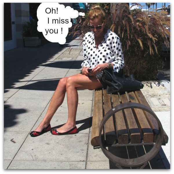 La Jolla street shops, polka dot blouse