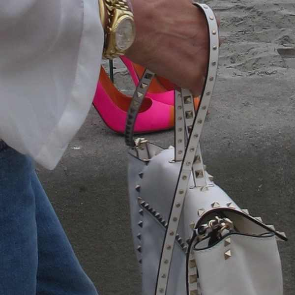 Pink shoes and Valentino bag
