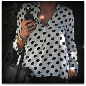 Polka Dots shirt Celine bag