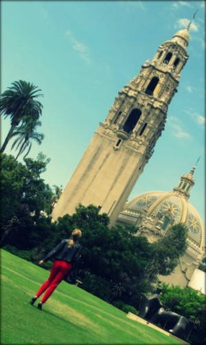 Red Outfit, Balboa Park, Red and black outfit