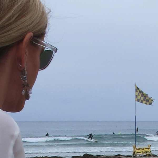 earrings, profile, serf, La Jolla beach