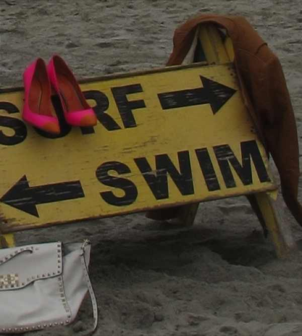 Valentino bag, beach, Iro leather Jacket, surf swim sign