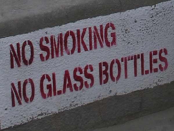 no smoking no glass bottles