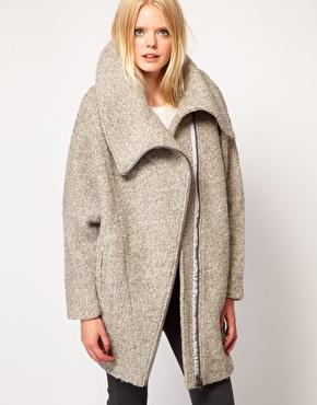 oversized wool zip coat