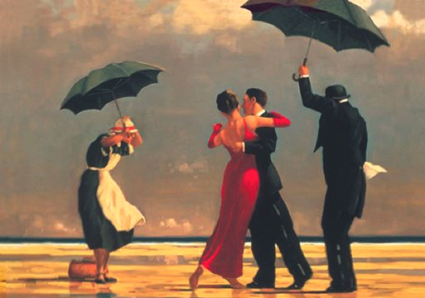 Scottish painter Jack Vettriano, the red dress