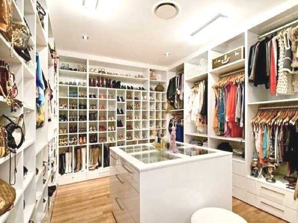 White walk in closet