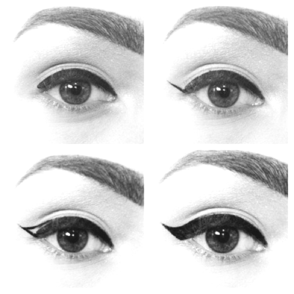 instructions for winged eyeliner application