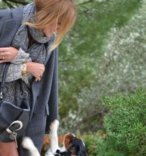 Androgynous cocoon coat Armani Oliver dog