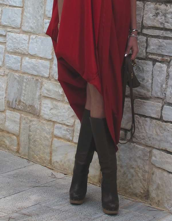 Maison Martin Margiela with H and M  red dress and Marni boots