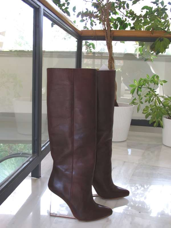 Maison Martin Margiela with H and M burgundy plexiglass boots