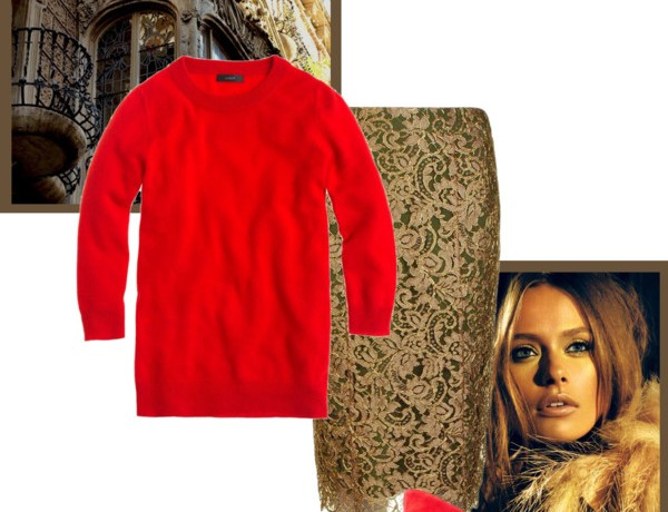 Icelle Red and gold chic sweater outfit
