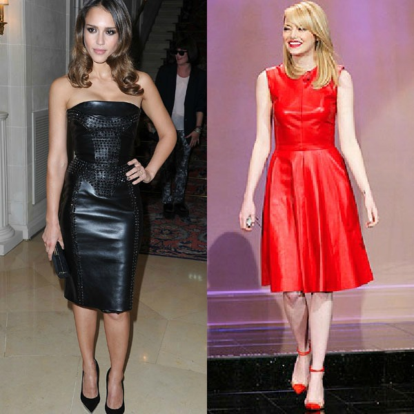 Jessica Alba black and Emma Stone in red  dress