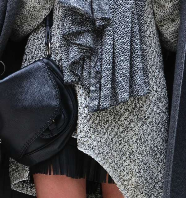 Jumper scarf Dior bag zara fringed leather skirt