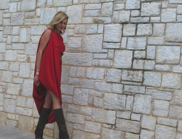 Maison Martin Margiela with HM red dress, TRENDSURVIVOR