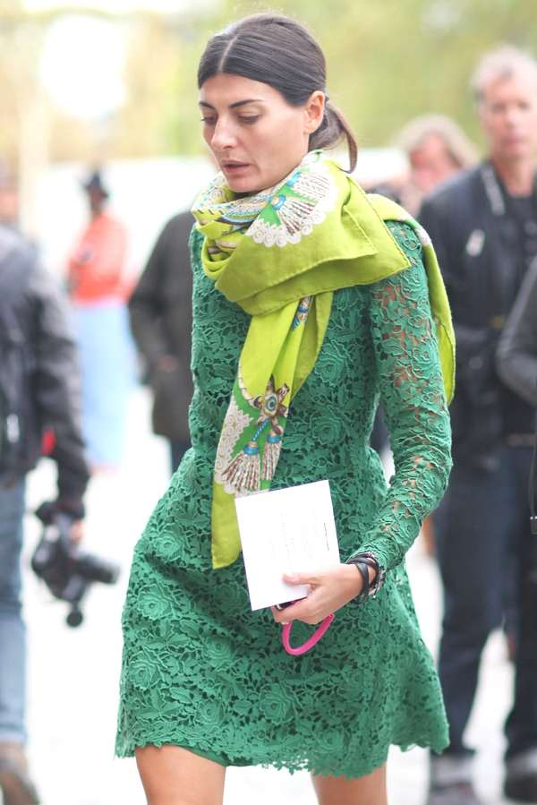Giovanna Battaglia arriving at the Valentino spring summer 2013 show.