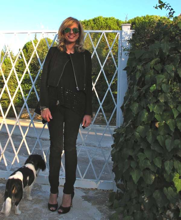 Rayban-green-mirror-Oliver-black-leather-outfit