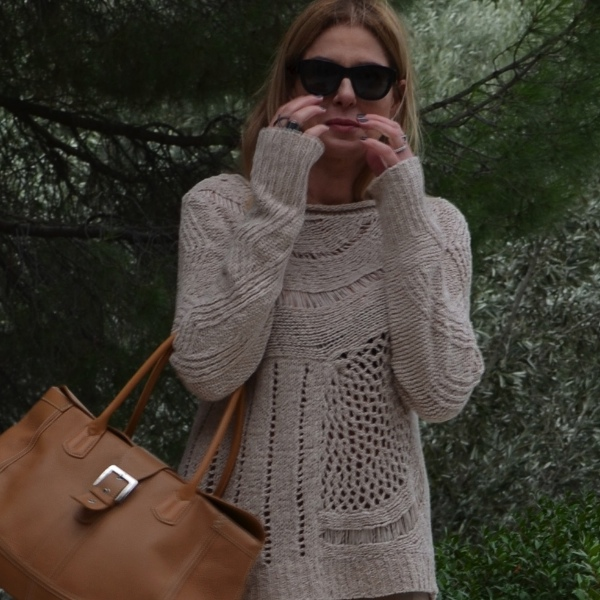 jumper beige tod's, nude leather knit mix