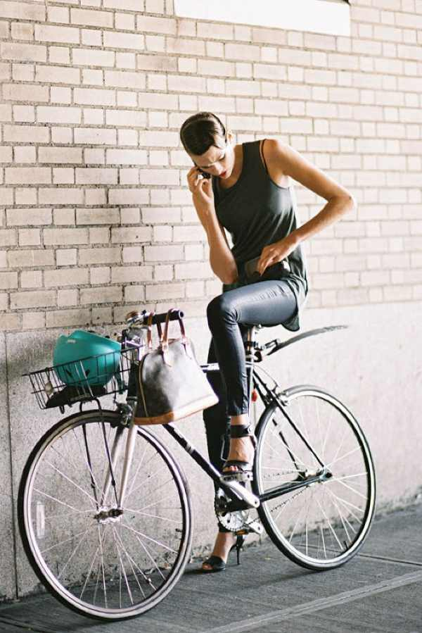 street style bicycle in high heels