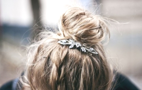 top knot with hair clip