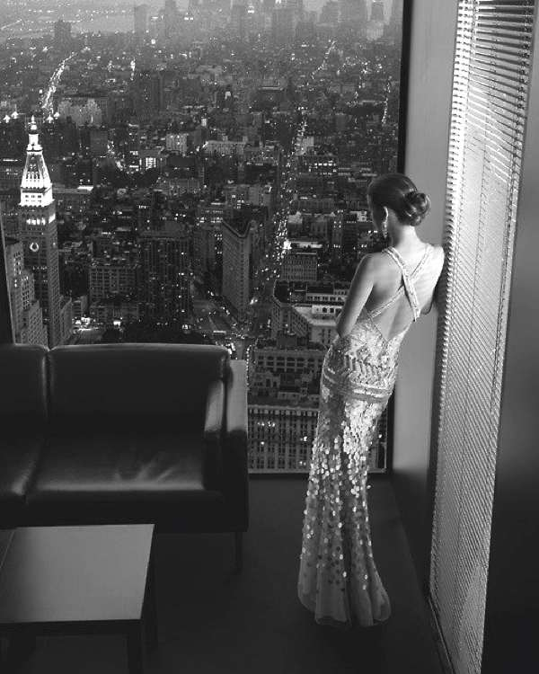 evening dress city view