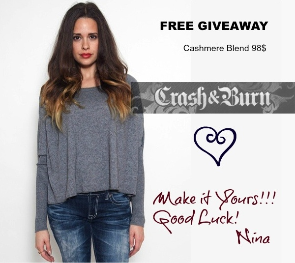 Cashmere Sweater Free giveaway Crash and Burn