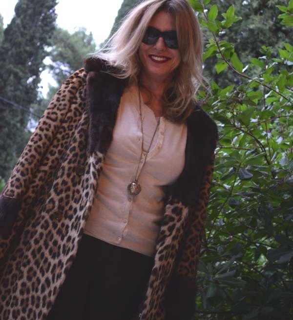 Cashmere Twin Set Joseph, Leopard fur coat