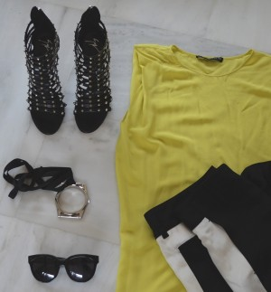 Audrey Celine Sunglasses, Phillip Lim pants and Zara lime top