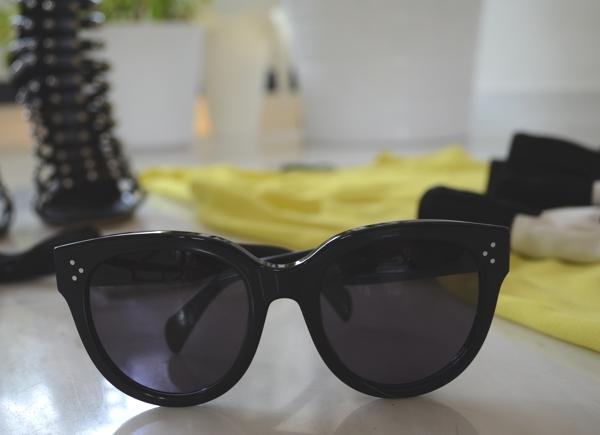 Audrey Celine Sunglasses, Phillip Lim pants and Zara lime top
