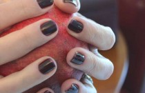 Nail Art- Dark Red French Manicure Design