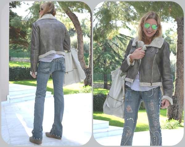 Leather jacket Zara grey