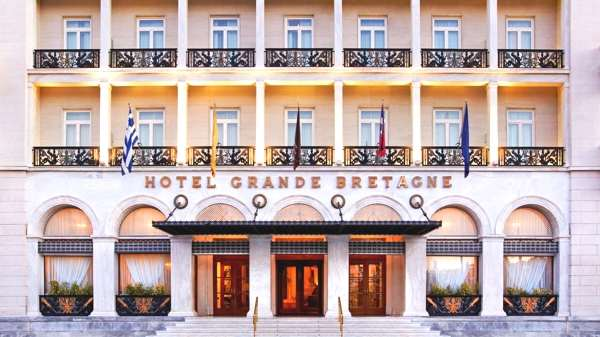 The entrance of the Hotel Grand Bretagne in Athens