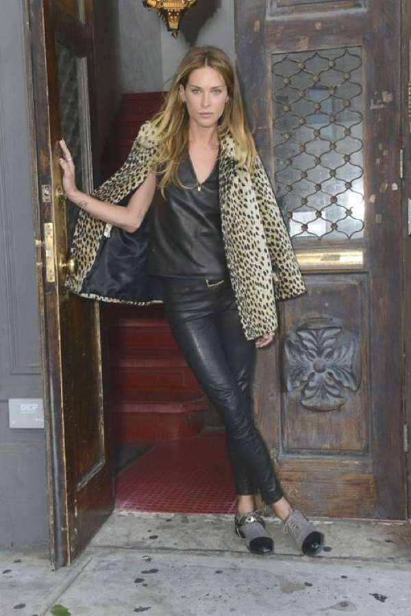 Erin Wasson leatherand fur leopard  coat