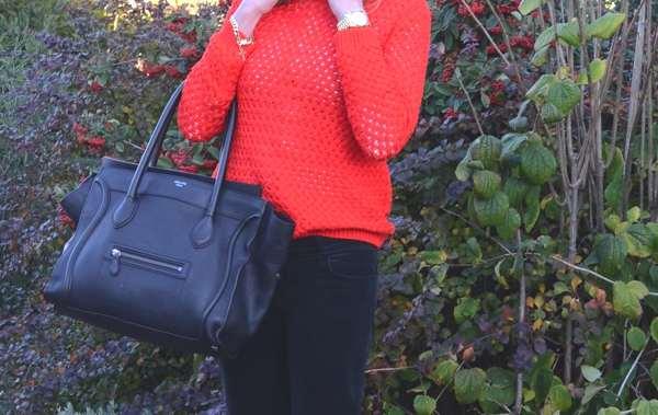 Celine bag orange jumper
