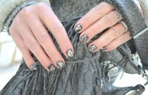 Nail Art and Dress in Shimmering Grey Baroque Style