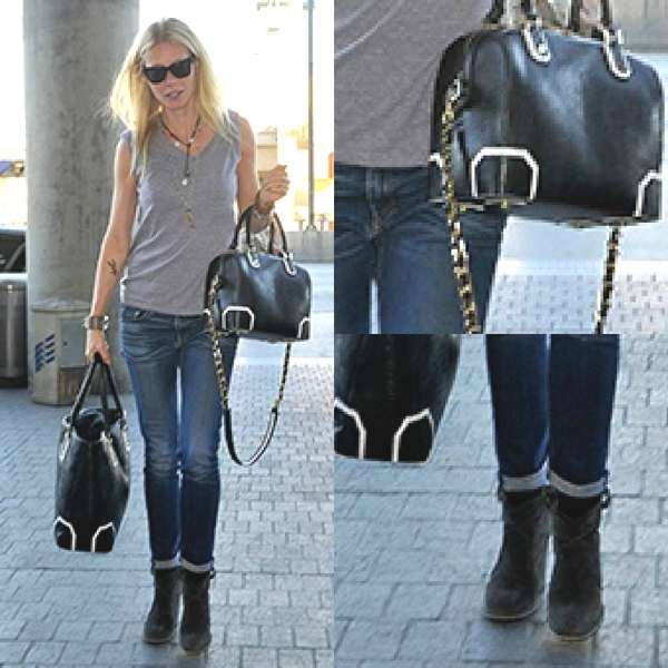 Gwyneth Paltrow new jeans and bag Collage