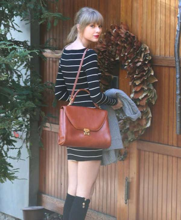 Taylor Swift  2013 street style stripes and brown bag