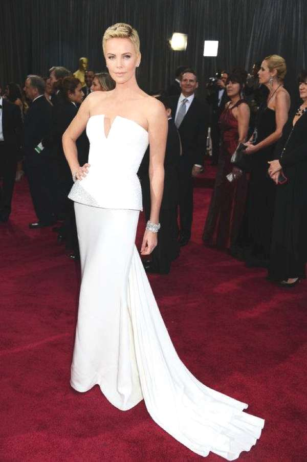 Charlize Theron in a Dior white gown