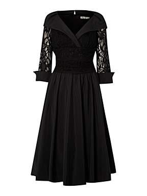 ELIZA J Lace Detail Ruched Waist Dress