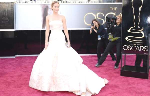 Best actress winner Jennifer Lawrence wore Dior Haute Couture.