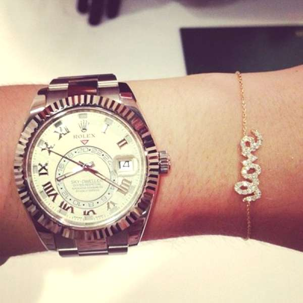 Love with diamond and rolex watch