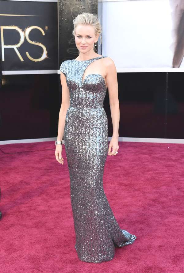 Naomi Watts in an Armani Privé dress, Jimmy Choo shoes, a Roger Vivier bag and Neil Lane jewelry.