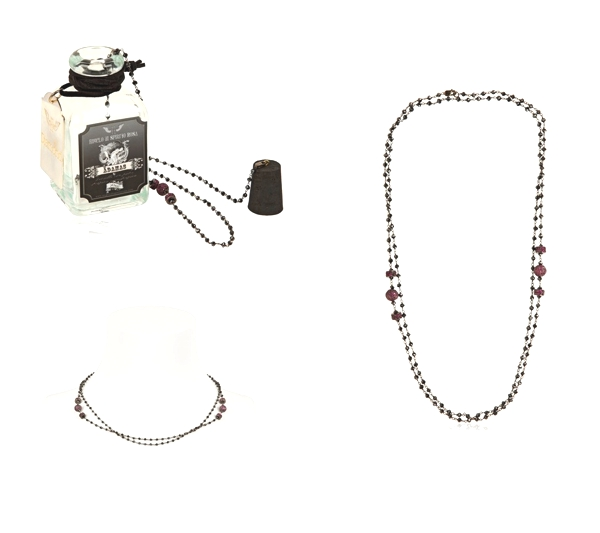 BLACK DIAMOND & RUBY ROSARY NECKLACE
